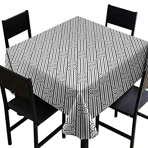 Glifporia Table Covers Abstract,Monochrome Classic Curved Line Bands with Diagonal Swirls Optic Effects Graphic,Black White,W36 x L36 for Wedding Reception Nave Blue