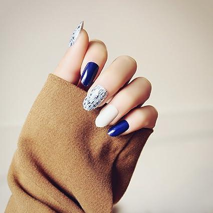 Mimei 24 Piezas Uñas Postizas Azules y Blancas Clavas, Tips Uñas Brillante Elegante para las