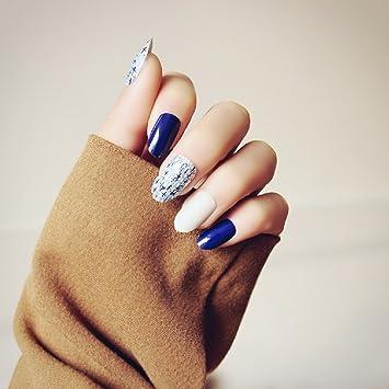 Mimei 24 Piezas Uñas Postizas Azules y Blancas Clavas, Tips ...