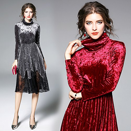 ZHUDJ Señoras _ Collares De Encaje Vestido De Manga Larga Muelle Delgado silvery