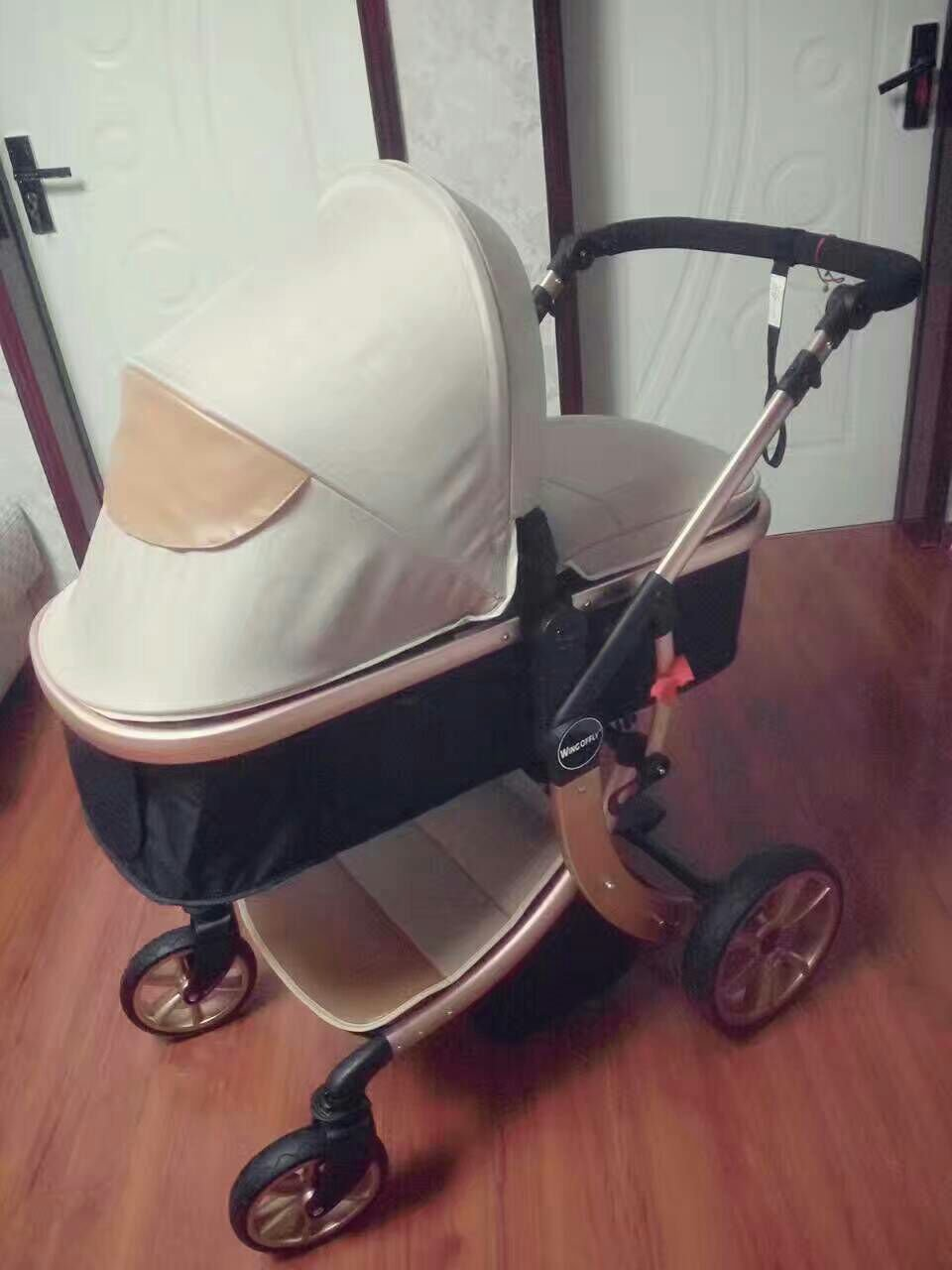 Baby Stroller High Landscape Two way shockproof baby can sit and sleep Baby use four seasons Gold khaki color