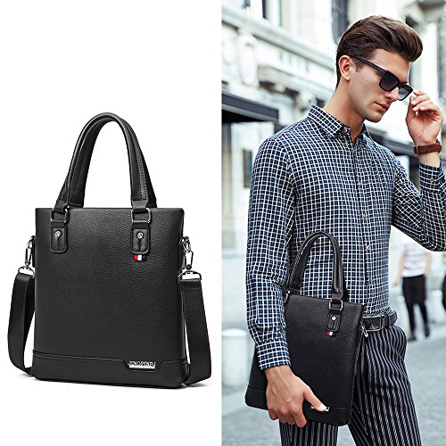 Black Leather Pu 2018 Shoulder Jn 3086 Skewing k Lightweight Bag Version Commuting Men's Tote Vertical Business Brown qwaTF