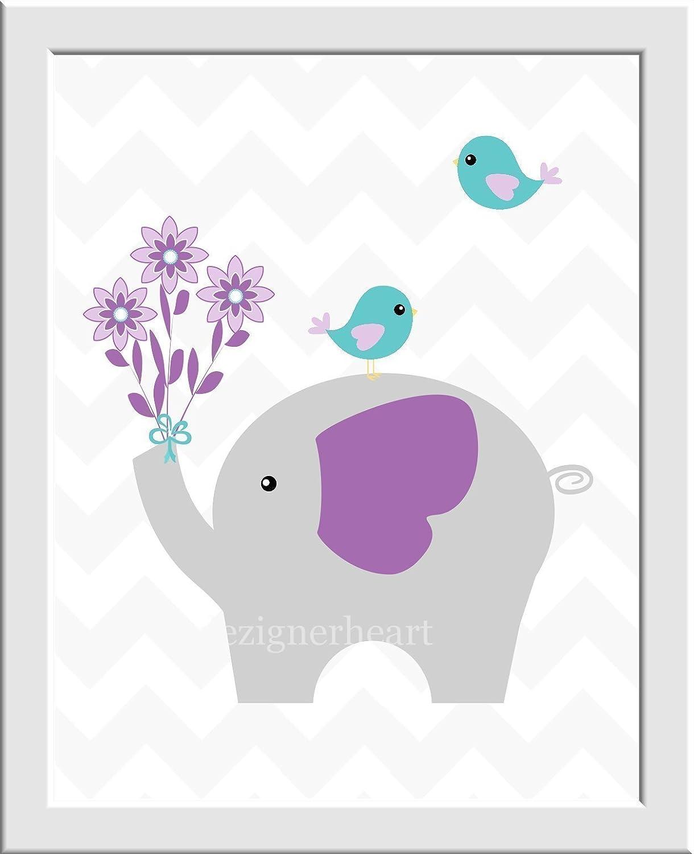 Girl Nursery Wall Art Elephant Purple Teal Aqua Gray Grey Chevron Birds Read Me A Story Kiss Me Goodnight Quote Baby Nursery Decor SET OF 3 UNFRAMED PRINTS