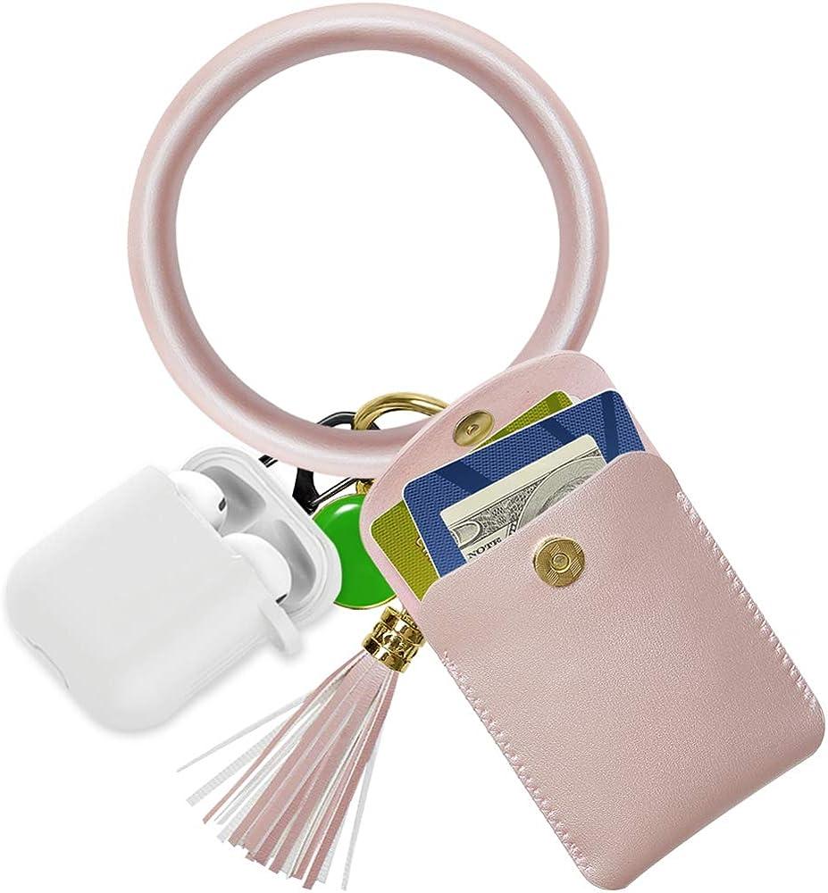 Keychain Bracelet,SHANSHUI Wristlet Circle Key Ring Bangle Card Pocket for Women