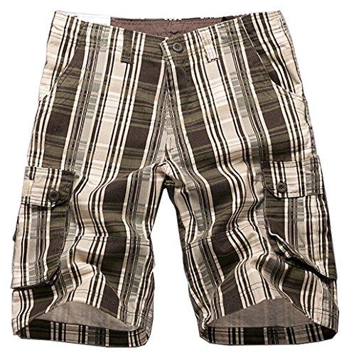 Special 2 Men's Plaid Patchwork Cotton Cargo - Flap Plaid Shorts Pocket