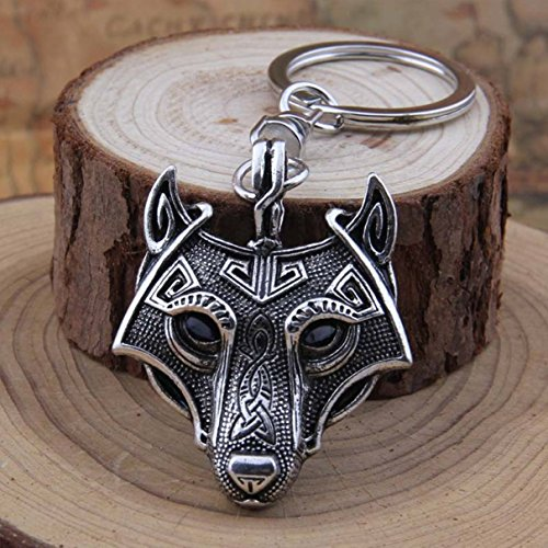 - 1 Pc Mini Pocket Wolf Talisman Norse Viking Sword Amulet Keychain Keyring Keyfob Antique Fox Silver Pendant Key Chain Ring Fob Tag Excellently Popular Cute Wristlet Utility Keychains Tool, Type-01