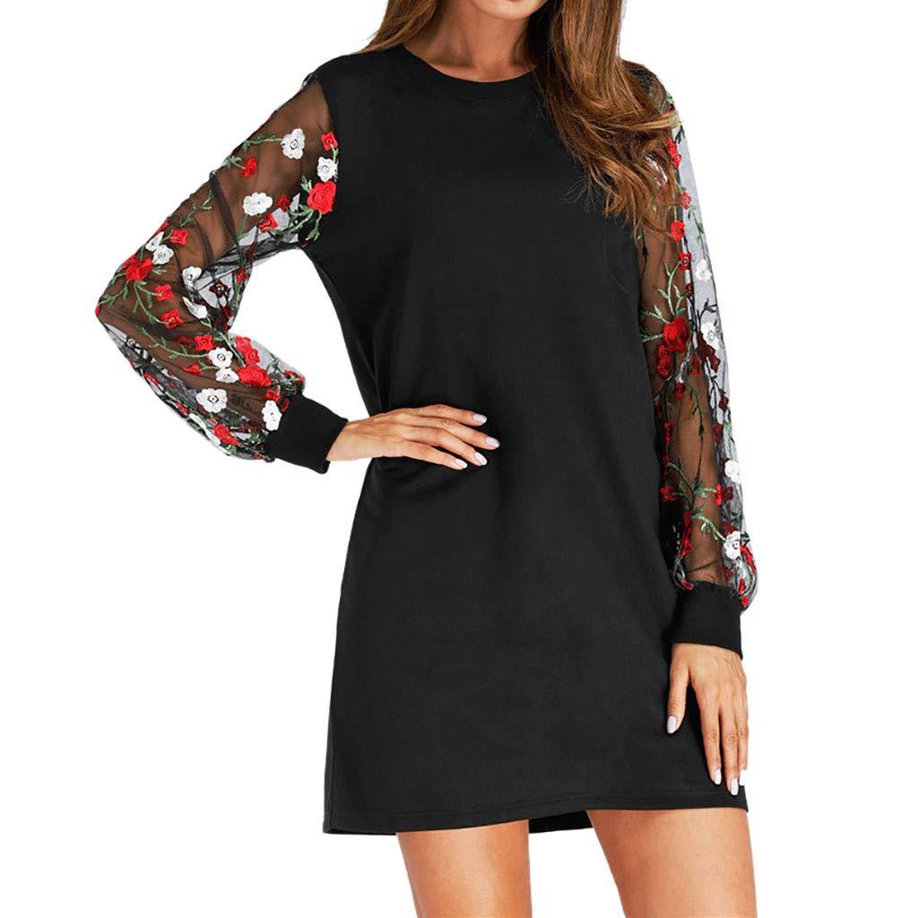 Alangbudu Women Long Lace Sleeve Loose Contrast Color Tunic Dress Casual Round Neck Mini A Line Dress Black