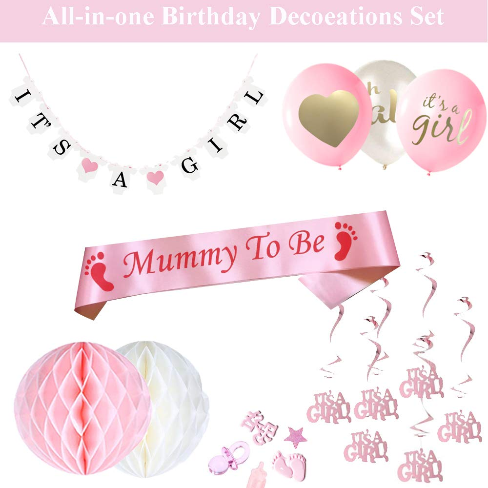 JWTOYZ Baby Shower Decorations Boy Mummy to be Sash Baby Shower Favours with It/'s A BOY Banner 6pcs Honeycomb Balls 15pcs Balloons and Baby Shower Confetti It/'s A BOY Hanging Swirls Decorations