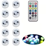 10 Pack Submersible LED Lights with Remote, Battery Operated Color Changing LED Tealights Waterproof Underwater Led Pool…