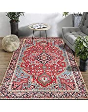 Oriental Persian Area Rug, Red, Floral Border Large Floor Carpet for Living Room Bedroom (80 x 160cm)