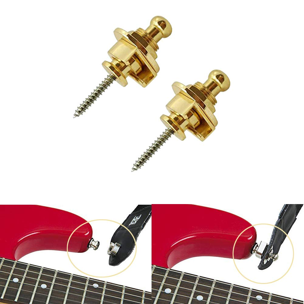 2 Silver HOT SEAL 2PCS Wool Copper Guitar Strap Lock Locking Pegs Pins Mushroom Shape End Button For Acoustic Classical Electric Bass Guitar Ukulele
