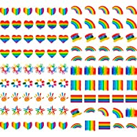 104 Pieces Rainbow Stickers Temporary Removable Tattoo Stickers Cool Waterproof Body Paint Art Stickers, 16 Different Styles