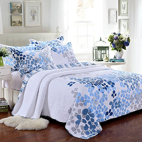 Blue Floral Pattern Country Patchwork Bedspreads Quilt Set Fit Queen (Blue Floral Quilt Set)