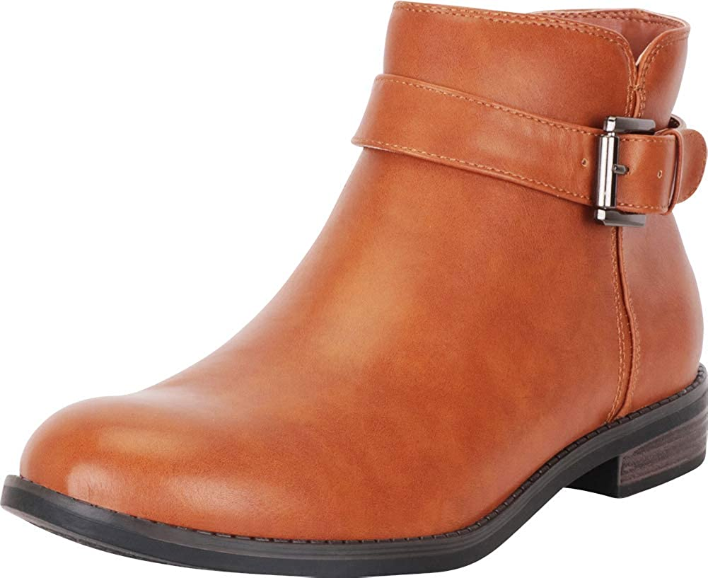 Cognac Pu Cambridge Select Women's Round Toe Buckle Strap Low Stacked Heel Ankle Bootie