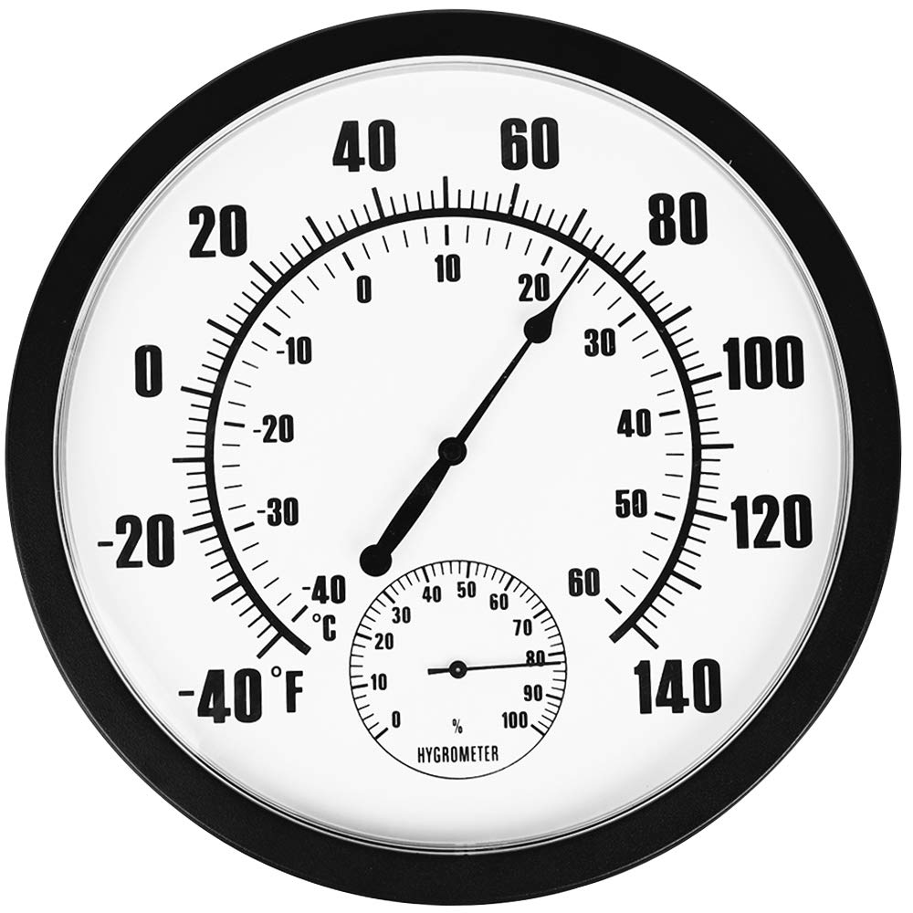 PandaCoCo 10'' Indoor Outdoor Weather Thermometer / Hygrometer for Patio, Wall Decorative, No Battery Needed