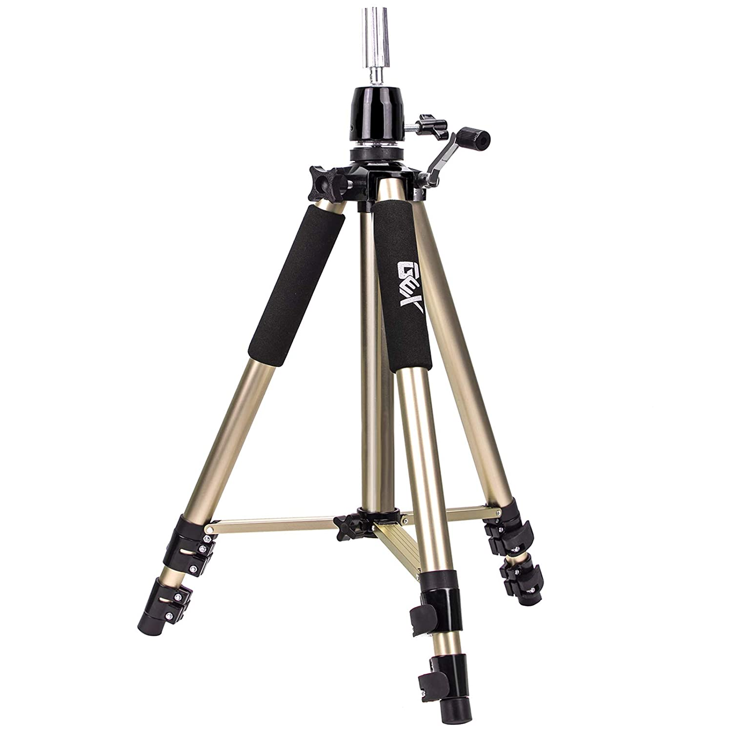 GEX Heavy Duty Canvas Block Head Tripod Cosmetology Training Doll Head Stand Mannequin Manikin Head Tripod Wig Stand With Travel Bag Gold Color GEX Worldwide
