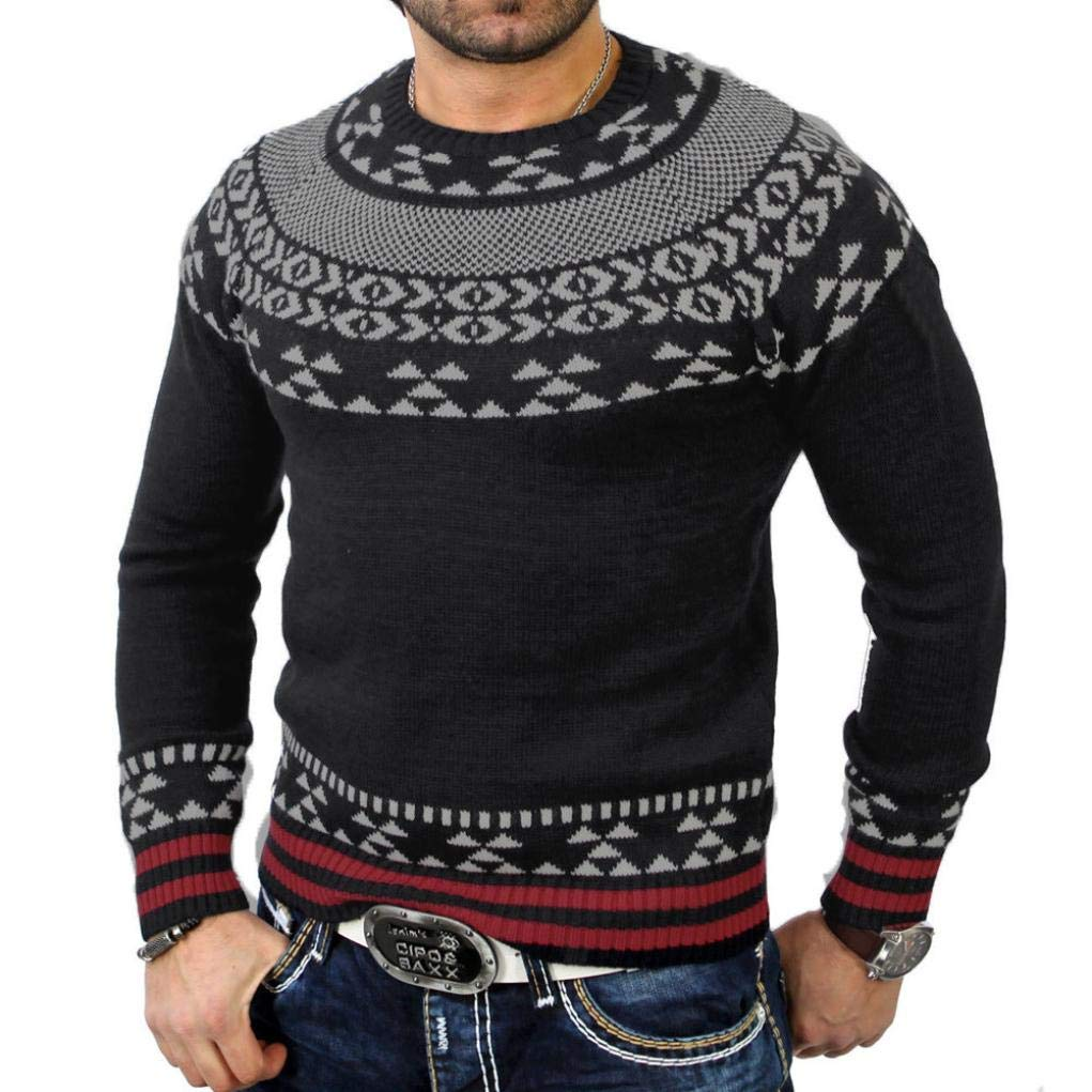 IEason Men Top Men's Autumn Winter Solid Pullover Print Knitted Trutleneck Sweater Blouse Top