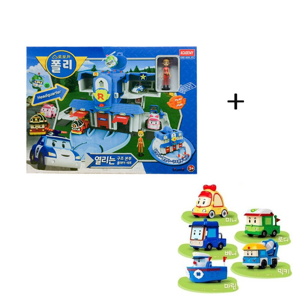 Academy Robocar Poli Headquarters Rescue Center Poli/Roi/Amber Play Set With Diecast Figures Mini+Rodi+Beni+Micky+Marine