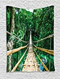 Tropical Decor Tapestry By Ambesonne, Bamboo Pedestrian Suspension Bridge Over River In Tropical Forest Bohol Philippines, Bedroom Living Room Dorm Decor, 40Wx60L Inches, Green Beige
