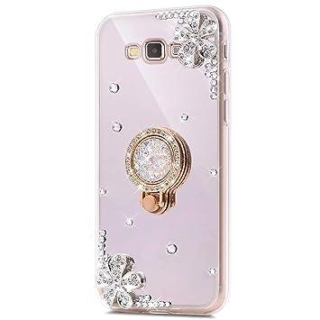 Funda carcasa samsung galaxy grand prime g530, carcasa espejo de silicona TPU con diamante y flor brillante Bling, surakey protectora bumper Samsung ...
