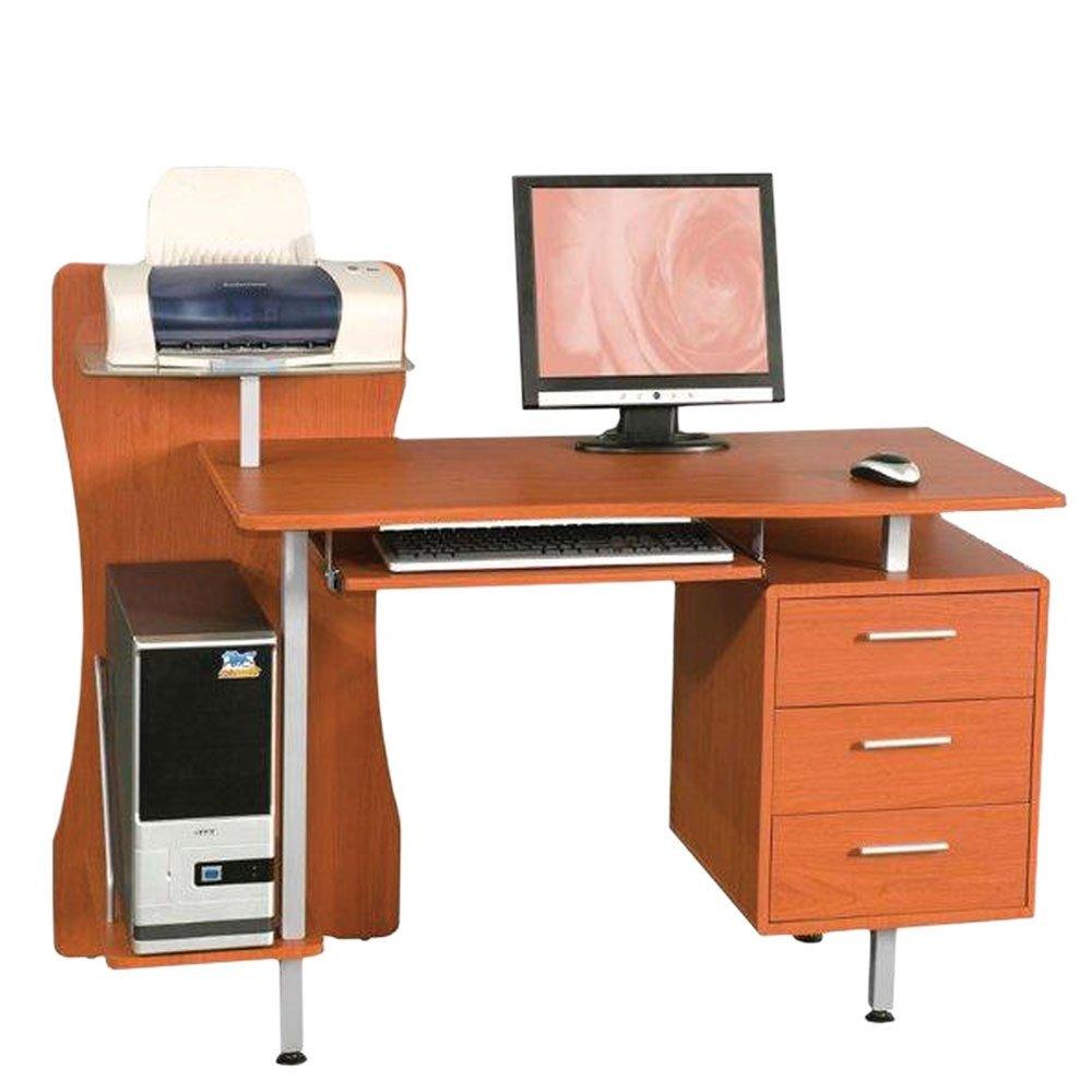 Scrivania Porta Computer Pc In Acciaio Piano In Mdf Ciliegio Con Cassettiera Portacomputer