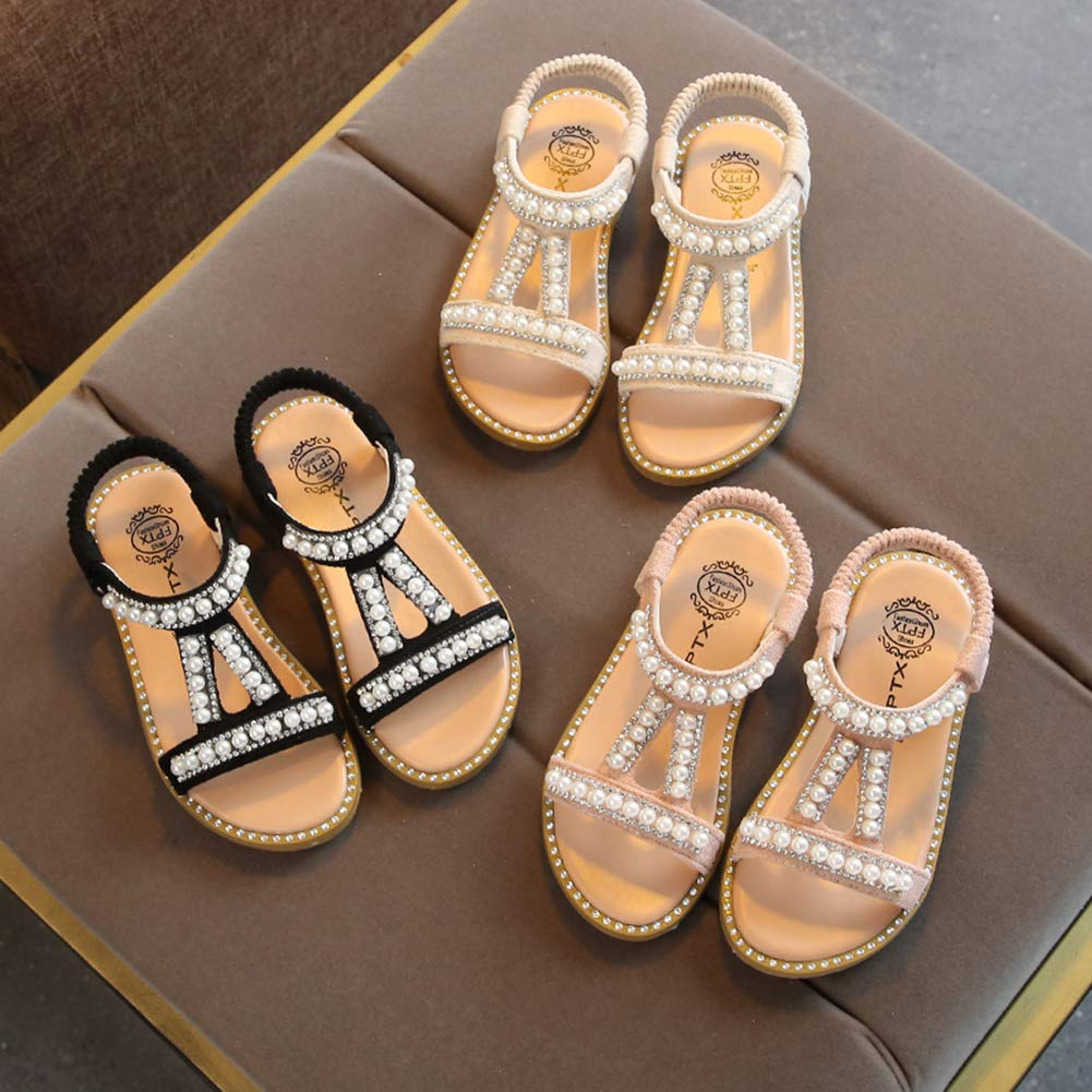 LHZZE Kids Toddler Girls Princess Sandals with Peals Summer Beach Shoes