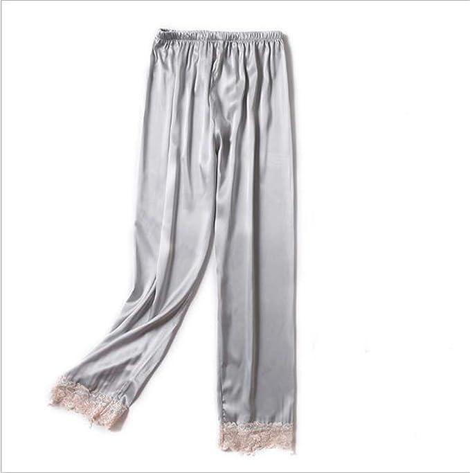 fd8141f79 MRxcff New Spring Summer New Faux Silk Pajama Pants Womens Sleep Bottoms  Lace Pyjama Pants Lounge Pants Sleeping Trouser at Amazon Women's Clothing  store: