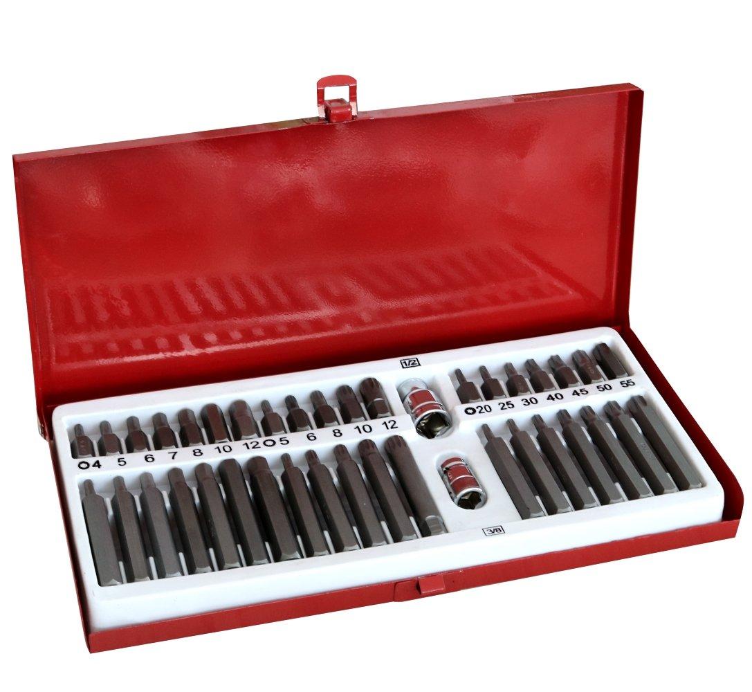 AERZETIX: Caja con 39 puntas de destornillador Torx Allen Spline con portapuntas C17796