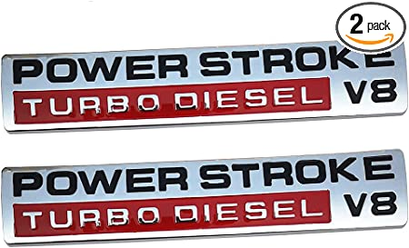 New 2x Metal Power Stroke Turbo Diesel V8 Embem Replacement for F250 F350 F450 Super Duty 6.0 Car Styling Fender Side Door Badge Decoration,Small Size Silver