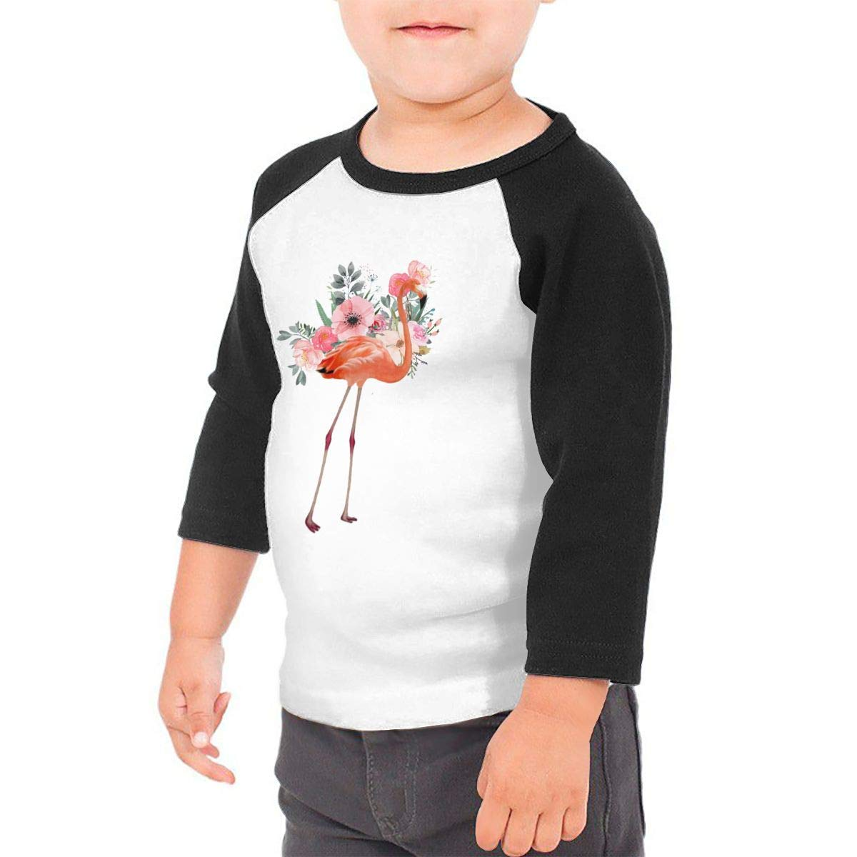 Floral Flamingo Unisex Toddler Baseball Jersey Contrast 3//4 Sleeves Tee