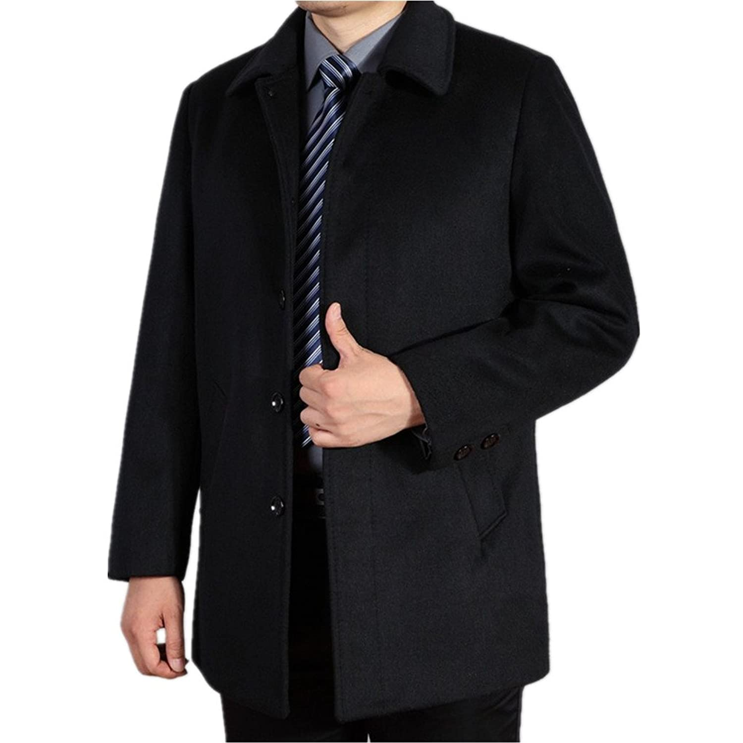 Men Wool Coat Medium-Long Male Thickening Cashmere Larrge Outerwear at Amazon Mens Clothing store: