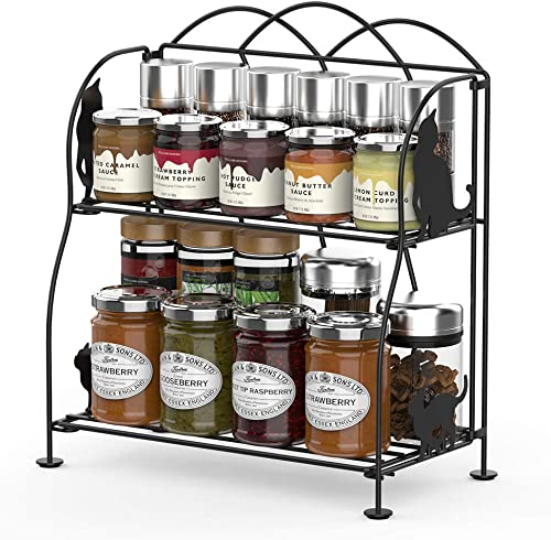 Spice Countertop Organizer, LUXEAR Spice Rack Organizer 2 Tier Foldable Standing Counter Storage Shelf with Cat Design Suitable for Spice Can Sauce Jars Bottle Office Home Kitchenware Organizer.