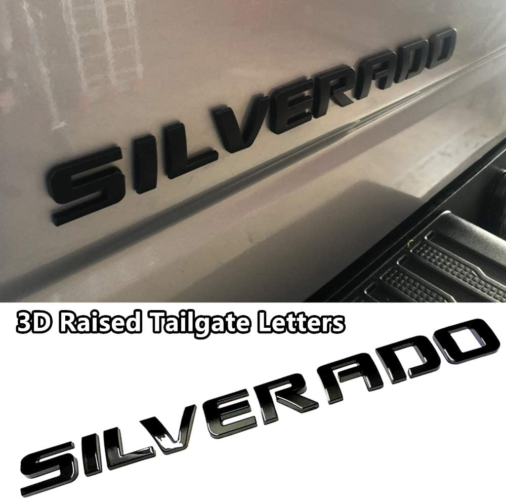 Gloss Black 3D Raised and Strong Adhesive Decals Letters Badge Emblem for Silverado LT 1500 2500Hd 3500Hd