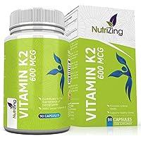 Vitamine K2 MK7 à fort dosage, certifiée - 600 mcg Menaquinone - 90 Gélules - All-trans MK-7 - Sans gluten, sans stéarate de magnésium de NutriZing