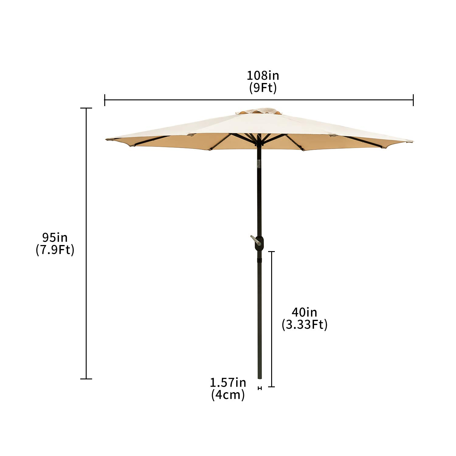 Outdoor Basic 9 Ft Patio Umbrella Solar Powered LED Lighted Fade-Resistant Table Umbrella with Wind Vent Beige