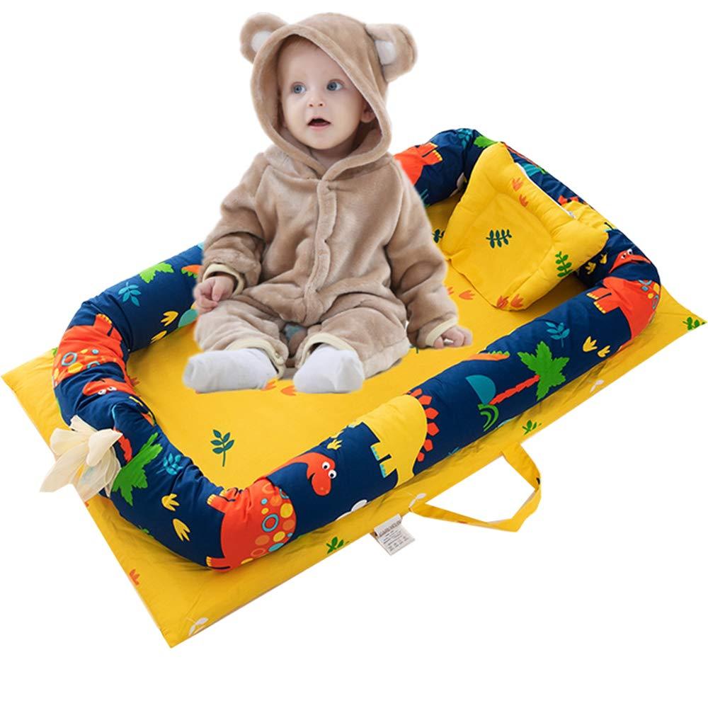 Abreeze Baby Bassinet für Bett -Dinosaur Baby Lounger - Breathable & Hypoallergenic Co-Sleeping Baby Bett - 100% Cotton Portable Crib für Bedroom/Travel