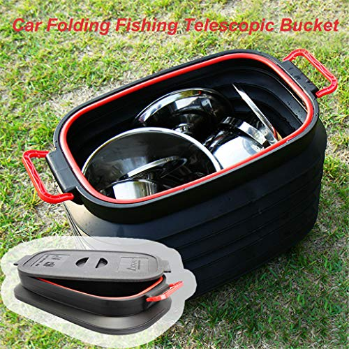 Uplord 37L Telescopic Storage Bucket, Multifunctional Waterproof Foldable Retractable Car Bucket Fishing Box Car Trash Barrel Can Bin Storage,with Lid