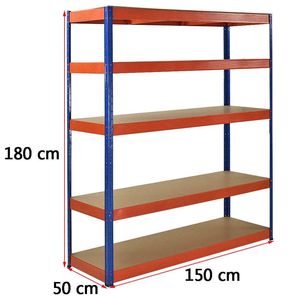 5 Tier Red Garage Shed Metal Heavy Duty Shelving Racking Storage 180 x 90 x 45cm