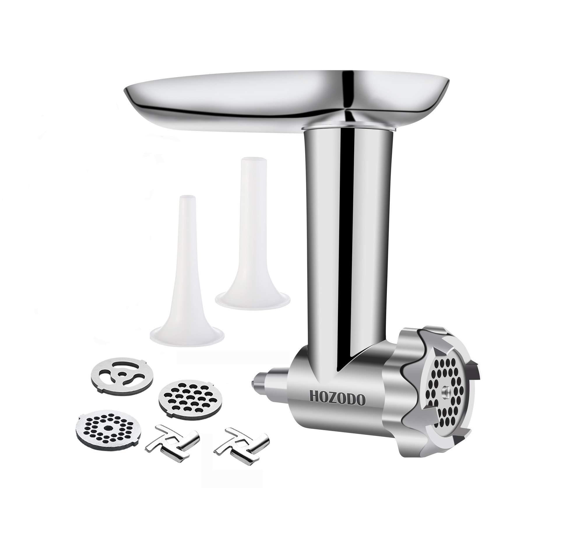 Metal Food Meat Grinder Attachment for KitchenAid Stand Mixers - Including Sausage Stuffer Accessory by HOZODO