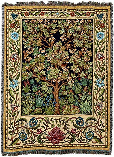Pure Country Weavers - William Morris Tree of Life Woven Tapestry Throw Blanket with Fringe Cotton USA 72x54 from Pure Country Weavers