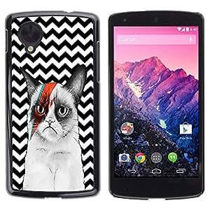 - Chevron Grumpy Cat - - Monedero pared Design Premium cuero del tir¨®n magn¨¦tico delgado del caso de la cubierta pata de ca FOR LG Nexus 5 E980 D820 D821 Funny House