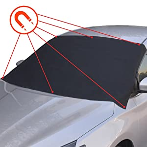 BDK FG-100 Black Windshield Cover for Ice and Snow – Waterproof Magnetic Frost Guard for Winter, Freeze Protector for Auto Truck Van and SUV