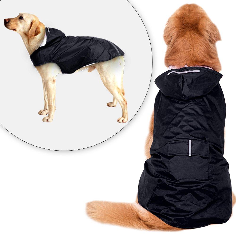 Didog Reflective Dog Raincoat,Packable Rain Poncho Rainwear Clothes for Medium Large Dogs,Dark Navy,4XL