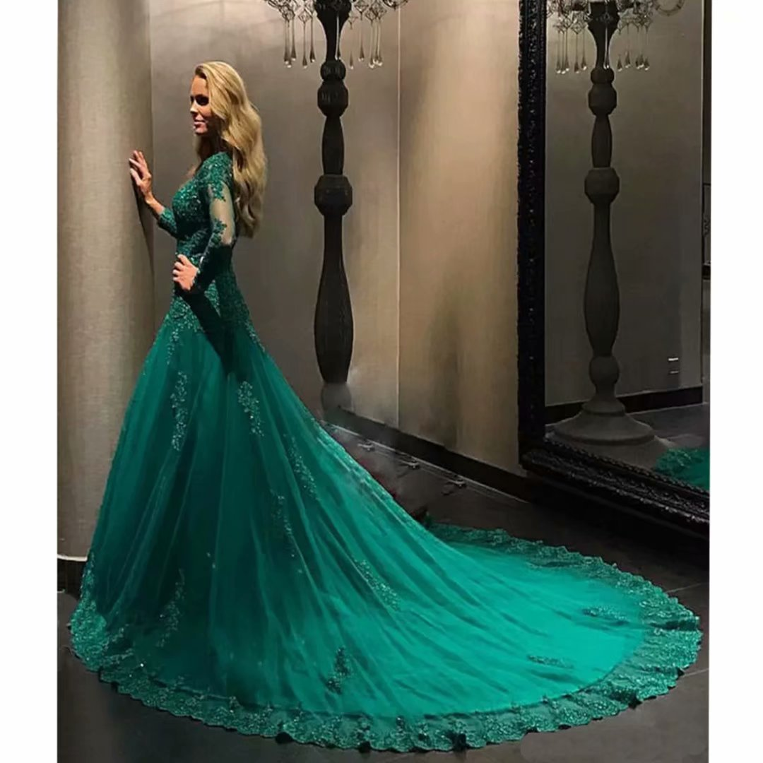 Chady Elegant Plus Size Evening Gowns 2017 Emerald Green Ball Gown ...