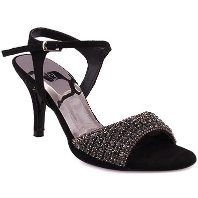 """33b6fe734 Unze Women """"MAAYAN"""" Open Toe Decorated Stones Evening Sling Back Kitten  Heel Ankle Strap"""
