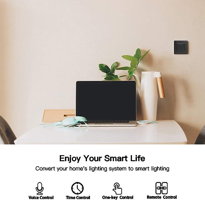 Moes WiFi DE Smart Push bouton 1 interrupteur amovible amovible de la plaque murale Smart Home Automatisation Smart Life Tuya App T/él/écommande Fonctionne avec  Alexa Google Home