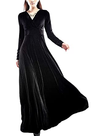Zilcremo Women Autumn Evening Maxi Velvet Dress Elegant V Neck Flared Party Cocktail Dresses Black XS