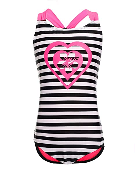 9876cee0ce4 LEINASEN One Piece Stripe Bathing Suits for Girls, Kids Racer Back Swimsuit,  Size 4