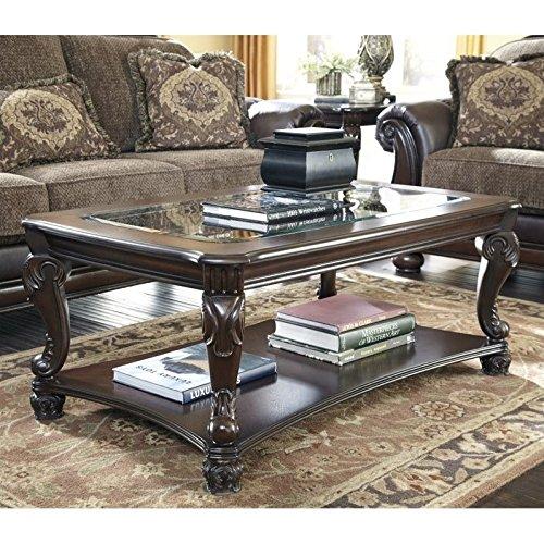 Ashley Furniture Signature Design - Norcastle Coffee Table - Cocktail Height - Rectangular - Dark Brown - Glass Rectangular Cocktail Table