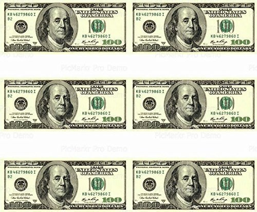 Whimsical Practicality 100 Dollar Bill - Designer Strips - Edible Cake Side Toppers - D20003